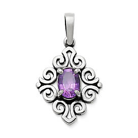 Scrolled Pendant with Amethyst