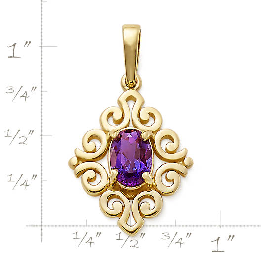 View Larger Image of Scrolled Pendant with Lab-Created Alexandrite