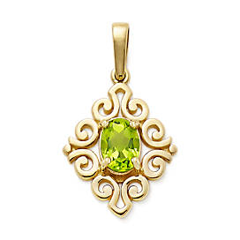 Scrolled Pendant with Peridot