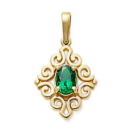 Scrolled Pendant with Lab-Created Emerald