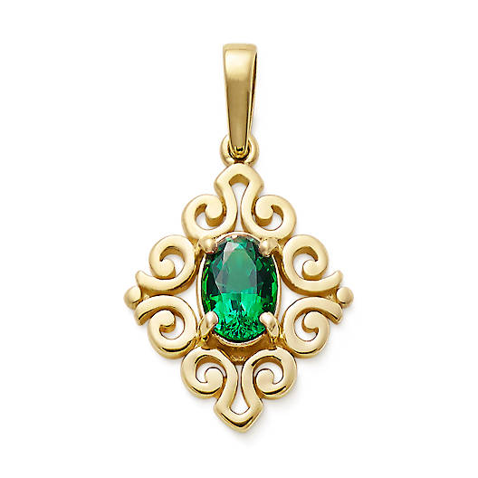 View Larger Image of Scrolled Pendant with Lab-Created Emerald