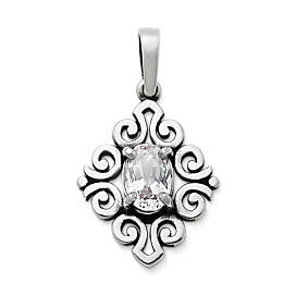 Scrolled Pendant with Lab-Created White Sapphire