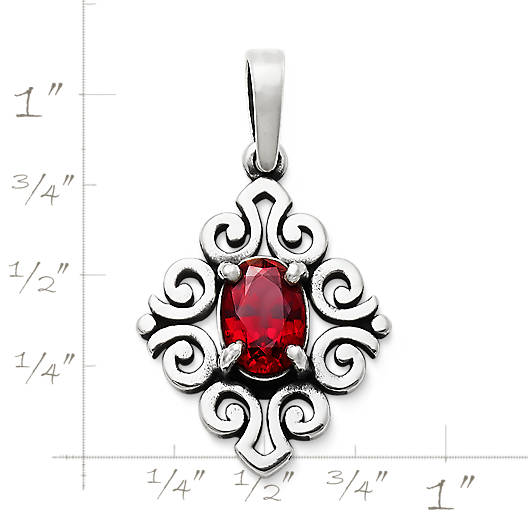 View Larger Image of Scrolled Pendant with Lab-Created Ruby