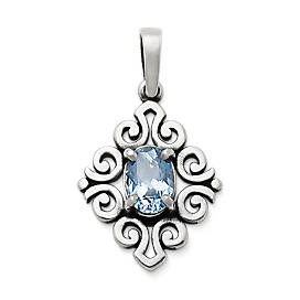 Scrolled Pendant with Lab-Created Aqua Spinel