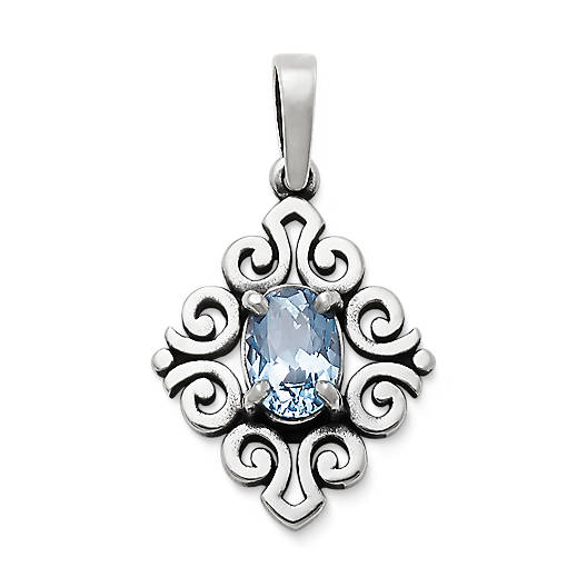 View Larger Image of Scrolled Pendant with Lab-Created Aqua Spinel