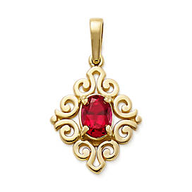 Scrolled Pendant with Lab-Created Ruby