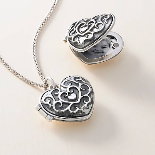 lockets with copper heart etching product plated floral vintage