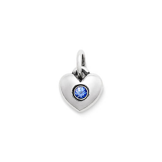 View Larger Image of Keepsake Heart Charm with Lab-Created Blue Sapphire