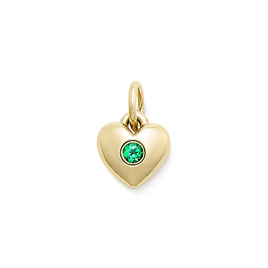 View Larger Image of Keepsake Heart Charm with Lab-Created Emerald