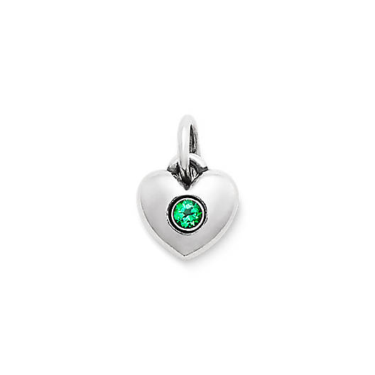 Keepsake Heart Charm with Lab-Created Emerald