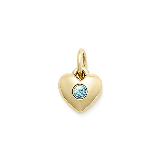 View Larger Image of Keepsake Heart Charm with Blue Zircon