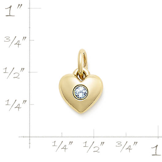 View Larger Image of Keepsake Heart Charm with Lab-Created Aqua Spinel