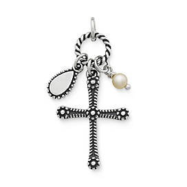 Enduring Faith Cross with Cultured Pearl