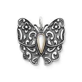 Brocade Butterfly Pendant with Mother of Pearl