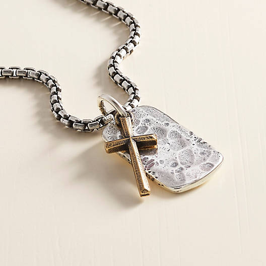 View Larger Image of Engravable Tag and Cross Pendant