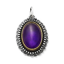 Heirloom Amethyst Pendant in Sterling & Bronze