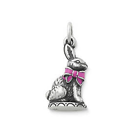 Easter Bunny Charm with Pink Enamel Bow