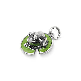 Enamel Frog on Lily Pad Charm
