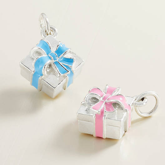 View Larger Image of Enamel Blue Gift Box Charm