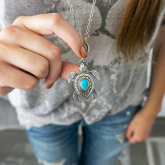 View Larger Image of Sea Turtle Pendant with Turquoise