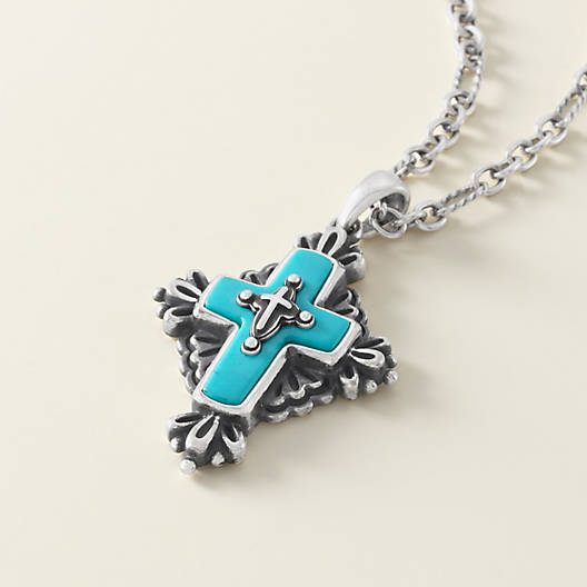 View Larger Image of Folk Cross with Turquoise