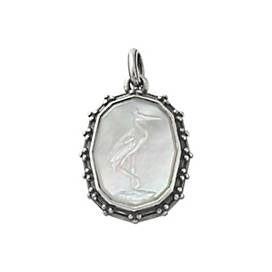 Sculpted Crane White Doublet Pendant