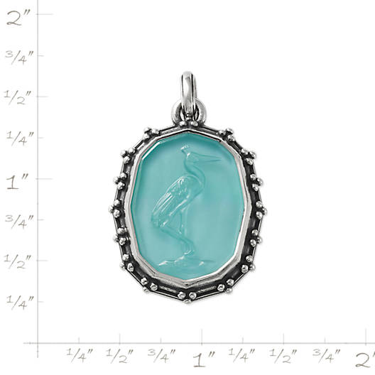 View Larger Image of Sculpted Crane Teal Triplet Pendant