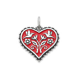 Enamel Red Hearts in Bloom Charm