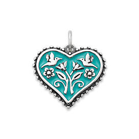 Enamel Teal Hearts in Bloom Charm