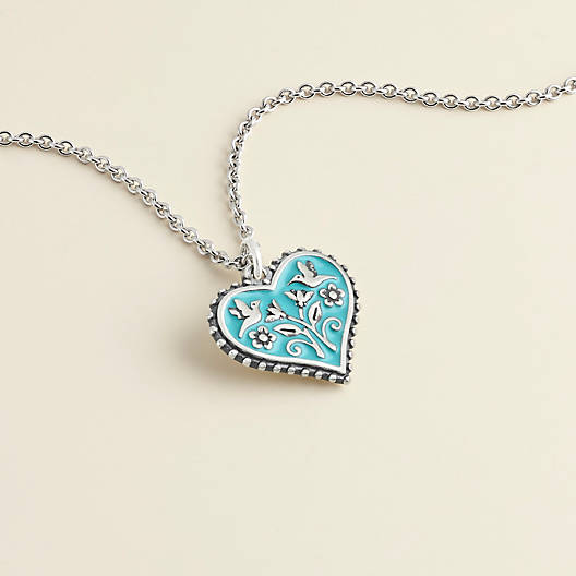 View Larger Image of Enamel Teal Hearts in Bloom Charm
