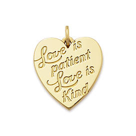 """Love is Patient"" Heart Charm"