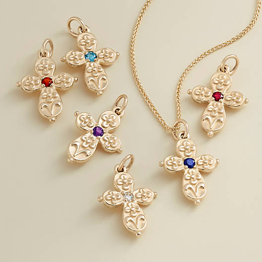 View Larger Image of Floret Cross with Diamond