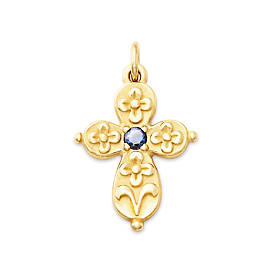 Floret Cross with Lab-Created Blue Sapphire