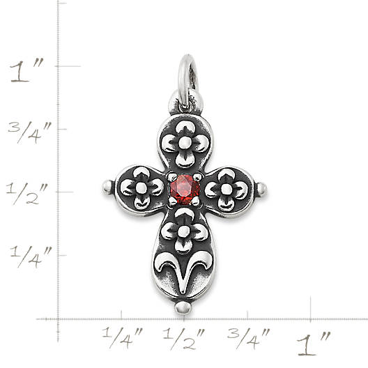 View Larger Image of Floret Cross with Garnet