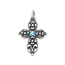 Floret Cross with Blue Topaz