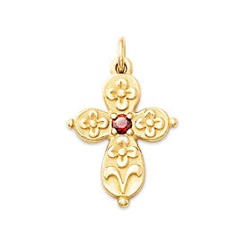 Floret Cross with Garnet