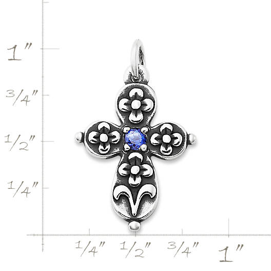 View Larger Image of Floret Cross with Lab-Created Blue Sapphire