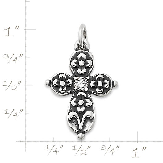 View Larger Image of Floret Cross with Lab-Created White Sapphire