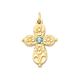 Floret Cross with Blue Topaz