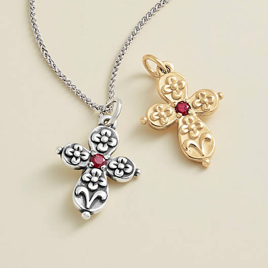 View Larger Image of Floret Cross with Lab-Created Ruby