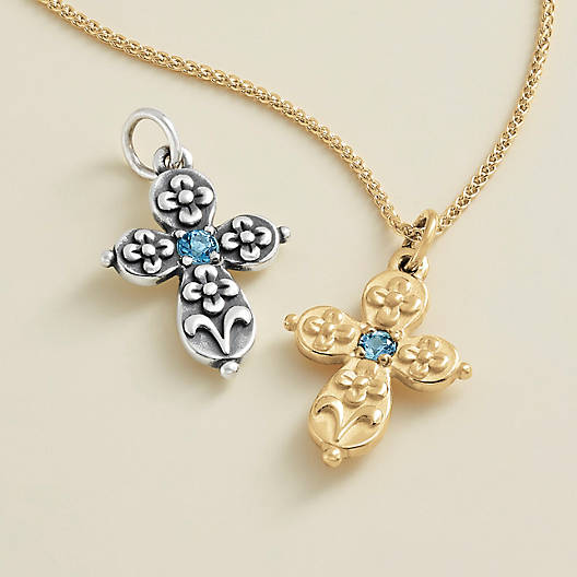 View Larger Image of Floret Cross with Blue Topaz