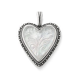 Sculpted Heart and Tulips White Doublet Pendant
