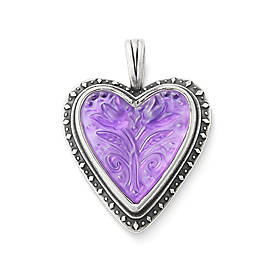 Sculpted Heart and Tulips Purple Doublet Pendant