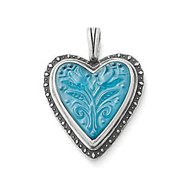 Sculpted Heart and Tulips Blue Triplet Pendant