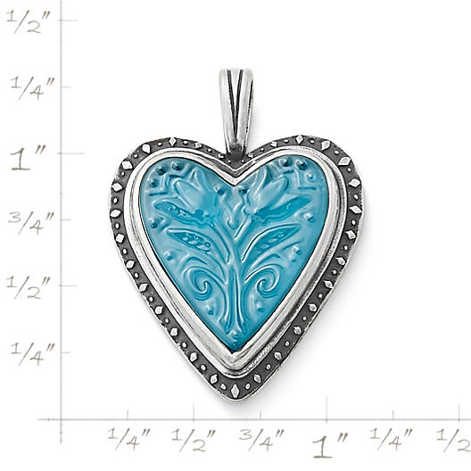 View Larger Image of Sculpted Heart and Tulips Blue Triplet Pendant