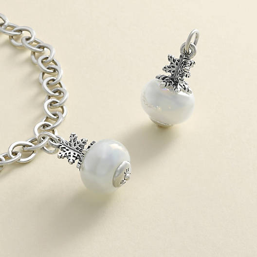 View Larger Image of Snowflake Art Glass Charm