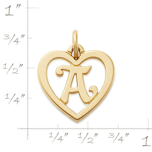View Larger Image of Heart Script Initial Charm