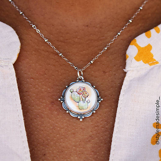 View Larger Image of Framed Ceramic Prickly Pear Cactus Pendant