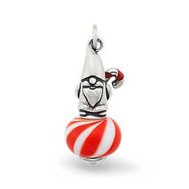Enamel Christmas Gnome Art Glass Charm