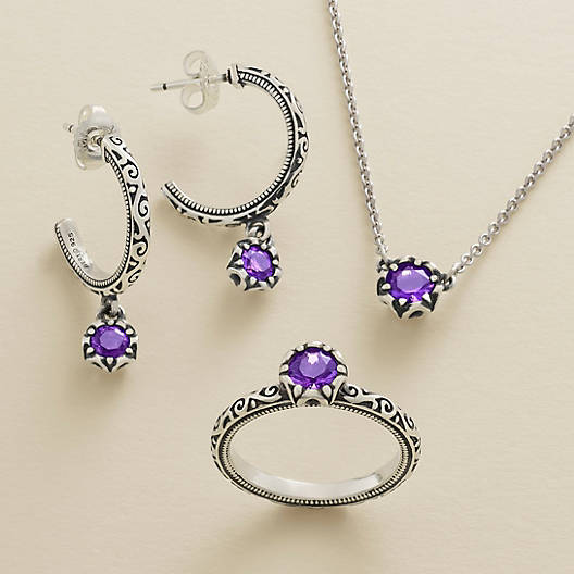 View Larger Image of Cherished Birthstone Hoop Ear Posts with Amethyst